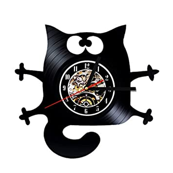 BiuTeFang Reloj de Vinilo Decoración Reloj de Regalo de Día de Gato Lindo Vinilo Pared Reloj Vinilo Negro Retro Hechos a Mano Reloj Registro Creativo de los ...