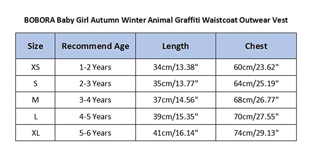 BOBORA Baby Girl Autumn Winter Animal Graffiti Waistcoat Outwear Vest