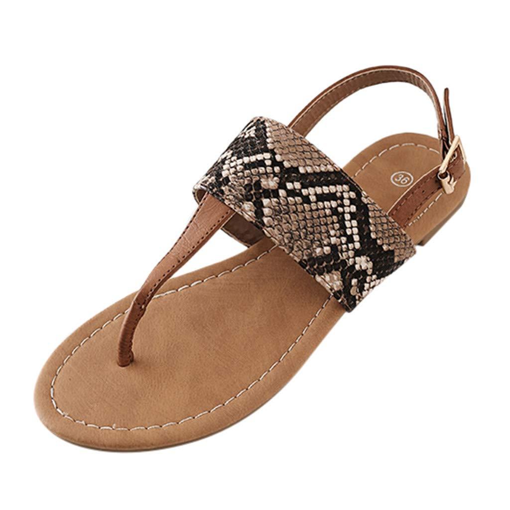 Orangeskycn Women Sandals Plus Size Summer Fashion Snakeskin Print Shoes Open Toe Buckle Strap Ladies Retro Roman Sandals Brown