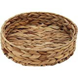 HD Fruit Tray Weaving by Grass, Round Bins for Vegetable, Arts and Crafts. (Small)