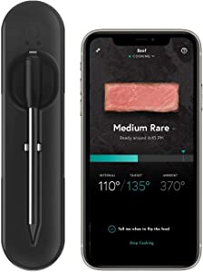 Yummly YTE000W5KB Premium Wireless Smart Meat Thermometer with Long Range Bluetooth Connectivity and Assisted Cooking, 1, Black
