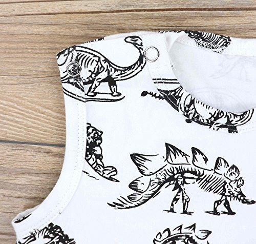 Summer Baby Boys Dinosaur Printed Sleeveless Romper One-Piece Bodysuit Jumpsuit Outfits White