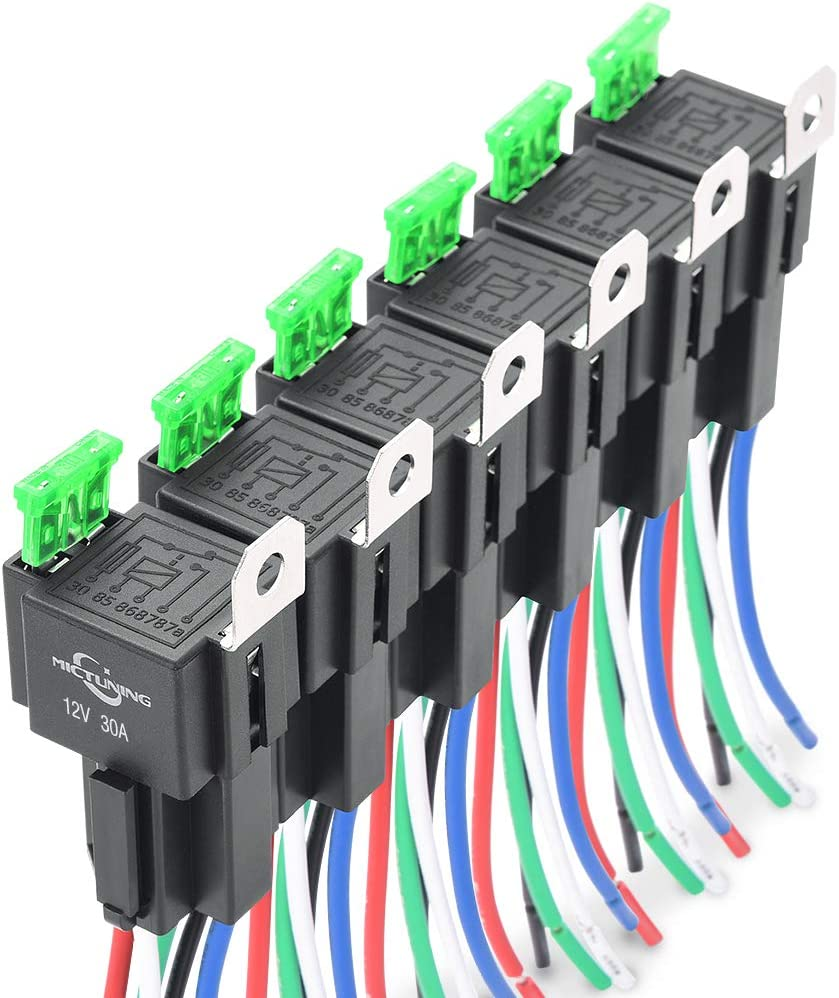 MICTUNING Arneses de Interruptor de Relé de Fusible de 12 V,Fusible de Cuchilla ATO ATC de 30 A, Relés SPST de 4 Clavijas con Cables de 14 AWG para Servicio Pesado,Paquete de 6