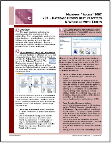 Microsoft Access 2007 Quick Reference Guide: Learning Access 2007 Part 1: Database Design Best Practices & Working with Tables (201)