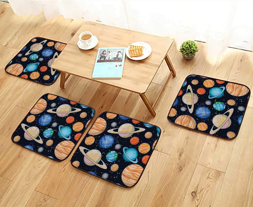 Elastic Cushions Chairs Cute Galaxy Space Solar System with Planets Mars Mercury Uranus Jupiter Venus Kids for Living Rooms W29.5 x L29.5/4PCS Set