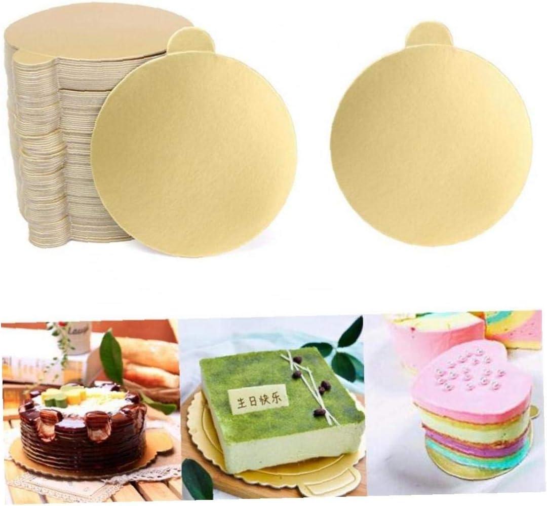 AMOYER 100 Pcs Mini Round Golden Cardboard Cake Base Cake Paper Plates Circle Cardboard Base Dessert Board