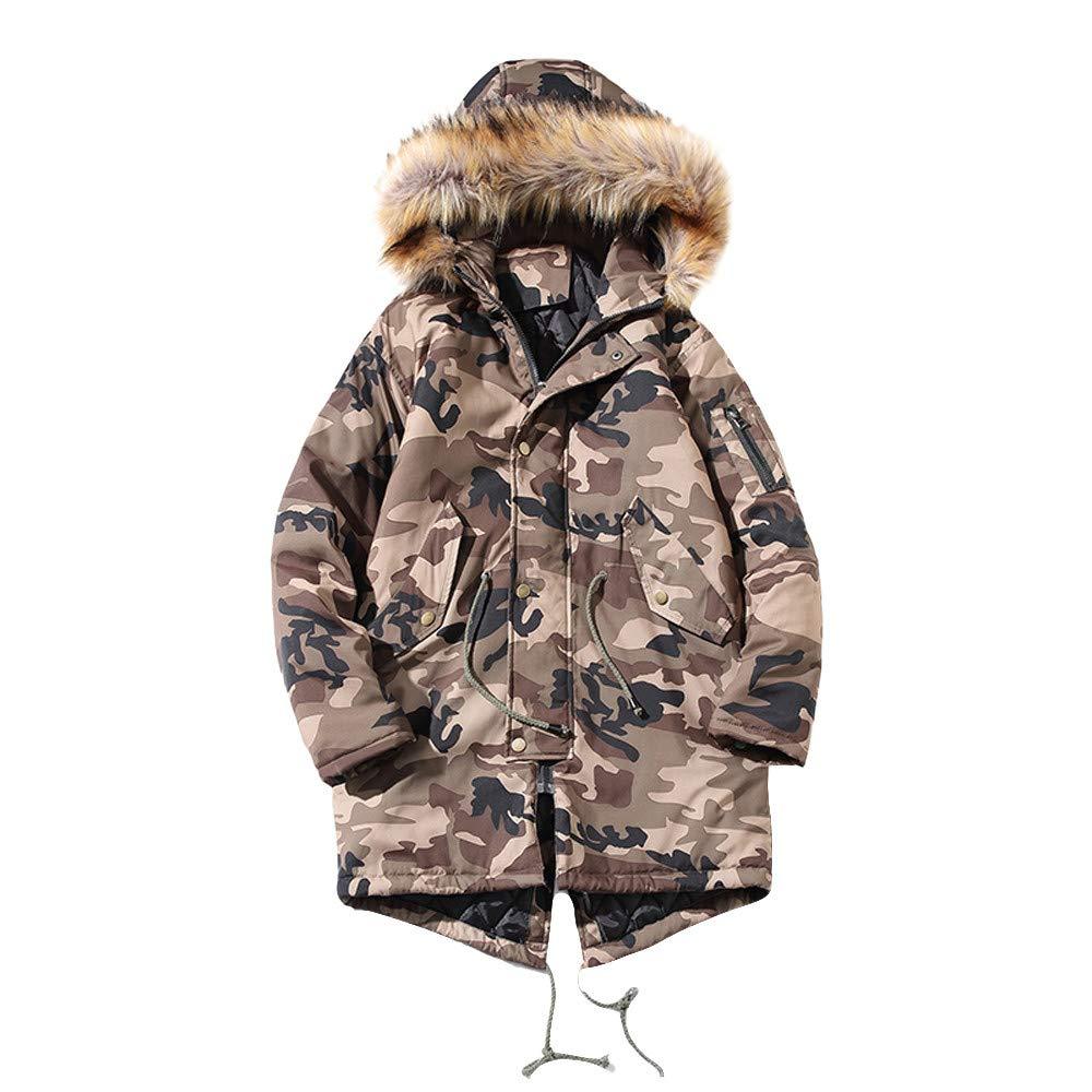 PIKAqiu33 Women Camouflage Winter Long Sleeve Hooded Pocket Thicken Coat PulloverTop Blouse