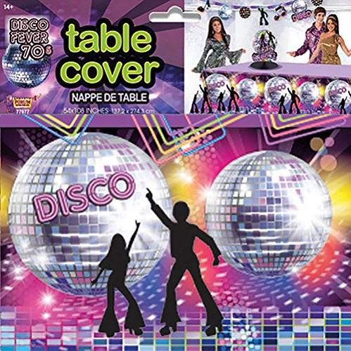 Forum Novelties X77977 Disco Party Table Cover, Multi-Colour, One Size ()