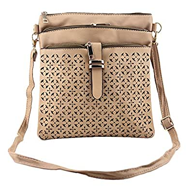 Bausweety Women's Crossbody Hollow Bag Vintage PU Leather Shoulder Bag