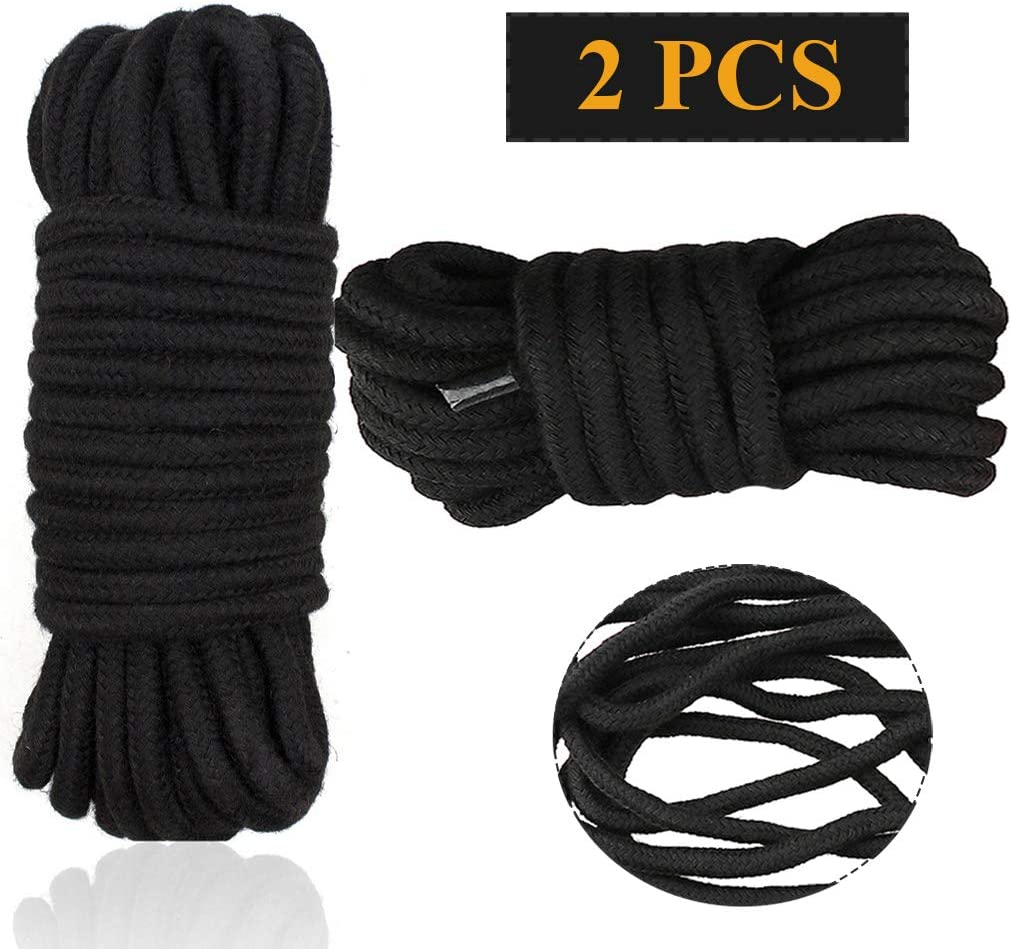 Cotton Soft Rope 2 Pcs Soft Cord 32 Feet//10M Rope Craft Rope Multipurpose Thick Rope Black