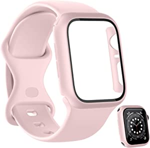 HAPAW Sport Bands Plus Hard PC Screen Protector Case Compatible with Apple Watch 40mm, Soft Silicone Replacement Strap Women Men Wristband Accessories for iWatch Series 6 5 4 SE