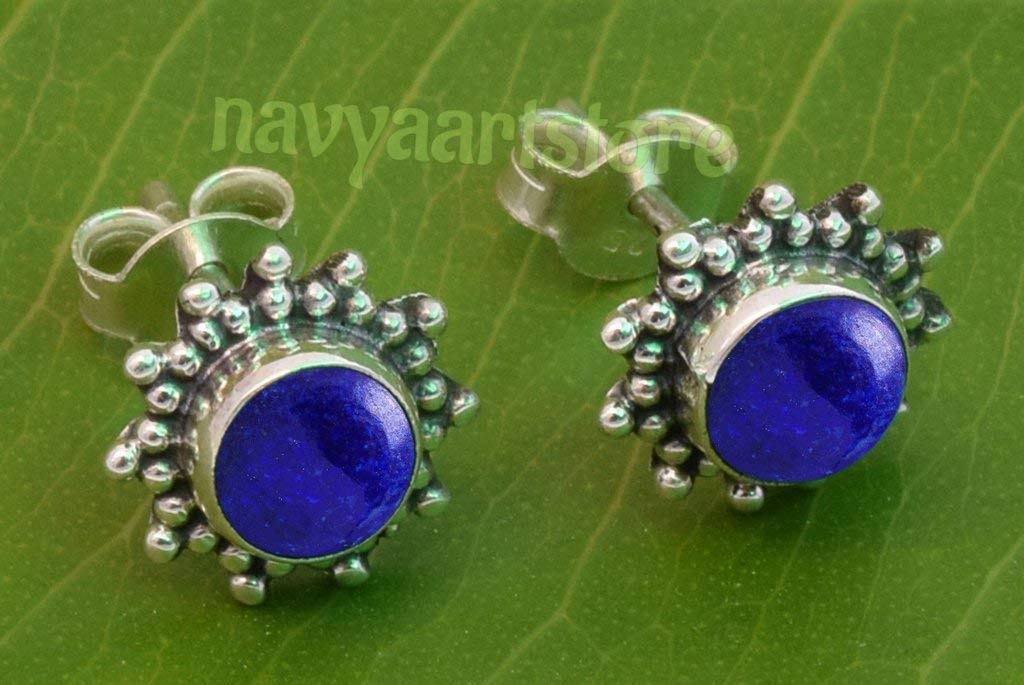 Gift  Boxed! LAPIS   Sterling  Silver  925   Gemstone  Earrings STUDS