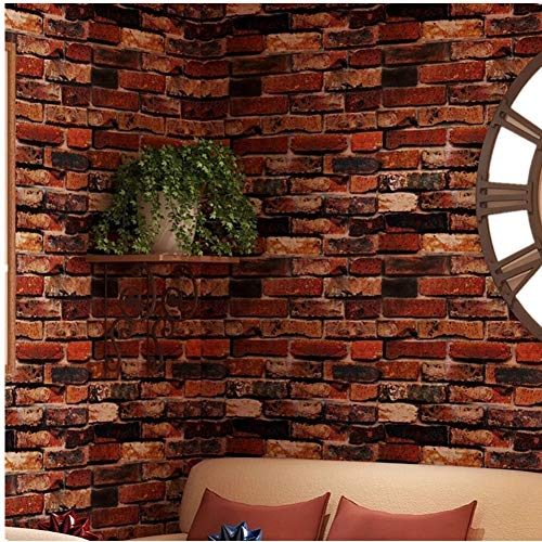 (Yancorp Self-Adhesive Wallpaper Rust Red Brown Brick Contact Paper Fireplace Peel-Stick Wall Stickers Door Stickers Counter Top Liners (18