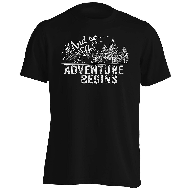 INNOGLEN and so The Adventure Begins Mountains Climbing Black Mens T-Shirt Tee gg828m