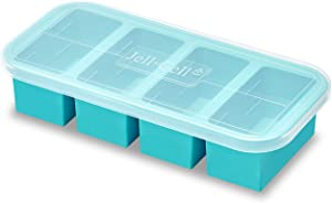 Freezer Tray Large Silicone Molds - Non-Stick Ice Cubes makes up to 4 cups Serving with Lid,Food Storage Container for Soup Sauce Meal Prep