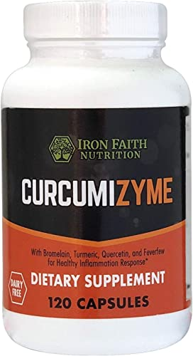 Iron Faith Nutrition Curcumizyme Joint Relief Healthy Inflammation Support Turmeric Curcumin Supplement w Bromelain 500mg Turmeric 300 mg Plus Quercetin Feverfew Dairy Free 120 Capsule Bottle