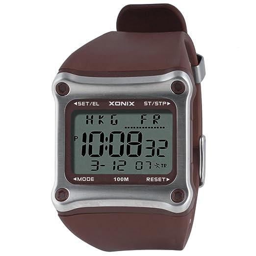 Reloj pantalla digital,Reloj cuadrado electrónico hombres impermeable multiusos buceo natación reloj hombre led luminoso reloj deportivo-D: Amazon.es: ...