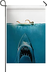 USOPHIA Dangerous Shark Underwater Jaws Polyester House Garden Flag Banner 12 x 18 inch Double Sided Spring Decorative Rustic/Farm House