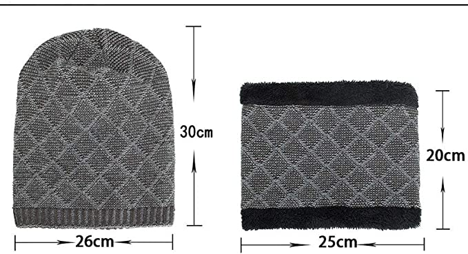 Charberry Plush Knit Cap Bib Set,Unisex 2-Pieces Winter Beanie Hat Scarf Set Warm Knit Hat Thick Knit Skull Cap