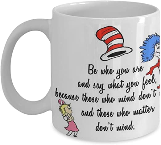 """Dr Seuss Cat in the Hat /""""Why Fit in When You Were Born to Stand Out/"""" mug 11oz"""