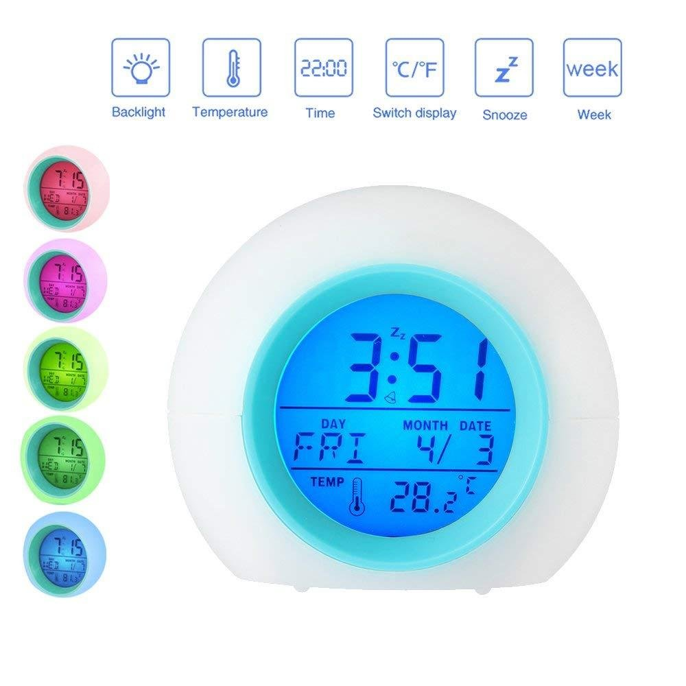 Alarm Clock, Wake Up Light Clock with Digital Display Model, Smart Snooze, Temperature Display , 7 Color Night Light For Kids,Heavy Sleepers,Teens,Girls,Adults Aolvo