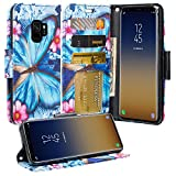 Galaxy S9 Case, Samsung Galaxy S9 Case Wallet, Wrist Strap Flip Folio [Kickstand] Pu Leather Wallet Case with ID&Credit Card Slot For Galaxy S9 Phone Cases - Blue Butterfly