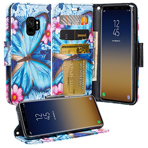 [GW USA] Wallet Phone Case Compatible for Samsung Galaxy S9 Plus Case Flip Credit Card Holder Wrist Strap Shockproof w/Kickstand - Blue Butterfly