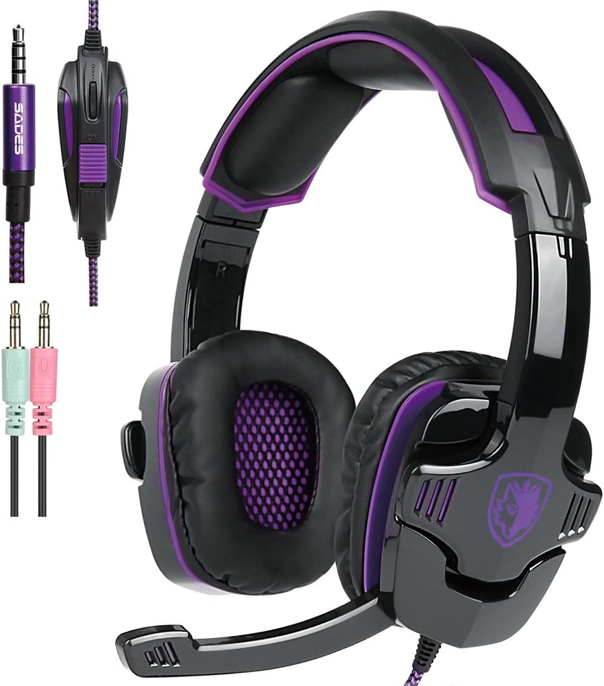 PS4 Gaming Headset with Mic Volume Control, SADES SA930 Stereo Headphone Compatible Mac PC Laptop Tablet Smartphone by AFUNTA-Black/Purple