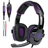 New Xbox one PS4 Headset with Mic Volume Control, SADES SA930 Stereo Gaming Headphone for PC Laptop Mac Tablet Smartphone by AFUNTA-Black/Purple