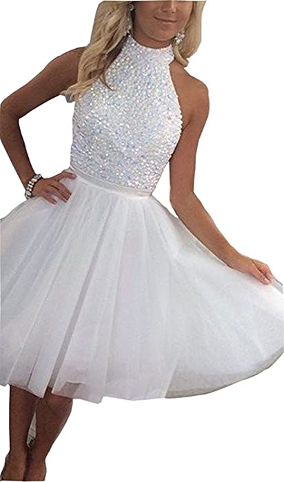 Tulle Keyhole Back Short A-line Prom Party Gowns Homecoming Dress NND063