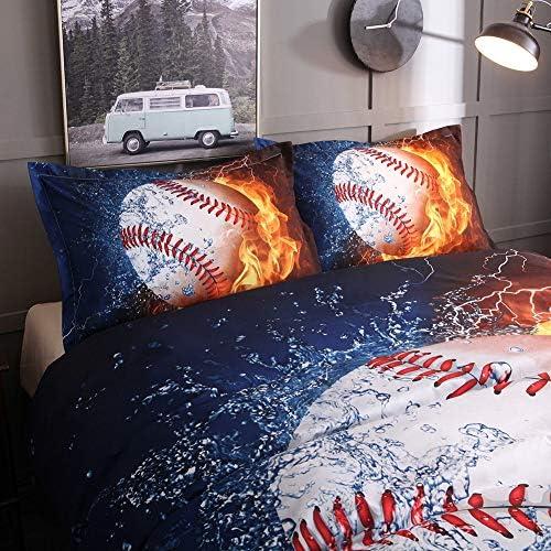 Baseball Imprimées Ensemble de literie 2/3 pièces Eau et Feu Baseball Housse de couette et Taie d'oreiller,2PCSTwin(150cmx210cm)