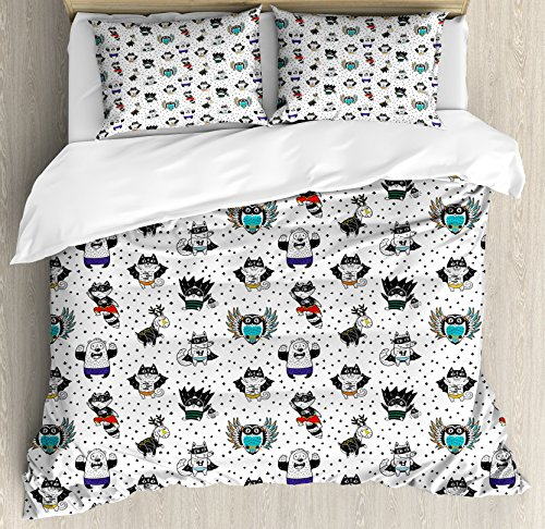 Superhero King Size Duvet Cover Set by Ambesonne, Animal Owl Dear Fox Cat Penguin Raccoon Bear in Superhero Costumes Print, Decorative 3 Piece Bedding Set with 2 Pillow Shams, White Seal Brown