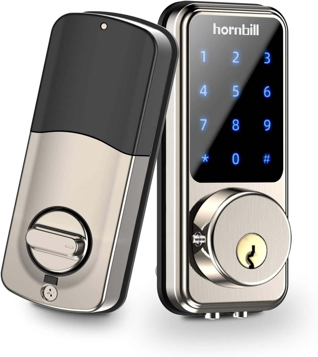 Security Electronic 5-in-1 Smart Keyless Entry Door Lock//Fingerprint Door Lock//Keypad Entry Door Lock//Password Door Lock//APP Unlock//Digital Smart Door Lock for Home Gold