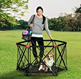 Carlson 6-Panel Foldable and Portable Steel Pet Exercise and Play Pen, Indoor and Outdoor, with Carrying Case, Red