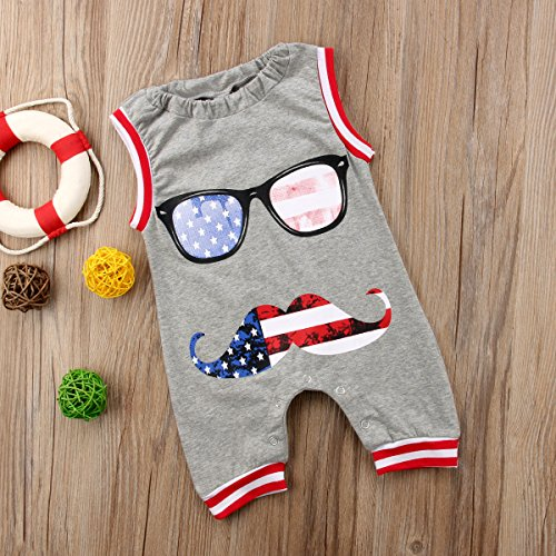 Honganda Toddler Infant Baby Boy Girl Sleeveless Moustache 4th of July Romper Jumpsuit Outfit