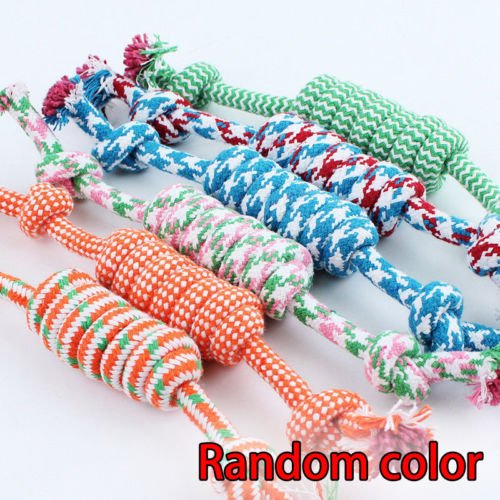 NPLE--Hot Random color 30-35cm Puppy Dog Pet Toy Cotton Braided Bone Rope Chew Knot