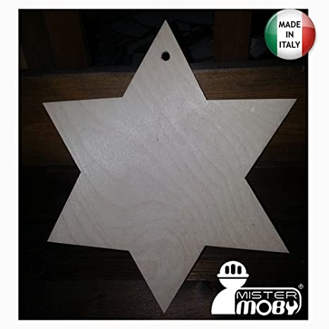 Stella Stellina Di Natale.Mistermoby Stella Di Natale Diametro 25 Centimetri In Legno Stellina