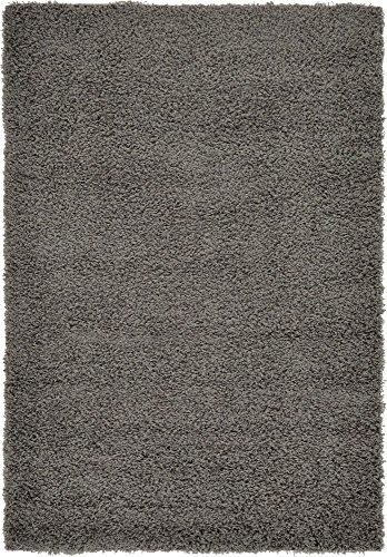 Unique Loom Solo Solid Shag Collection Modern Plush Graphite Gray Area Rug (4' 0...