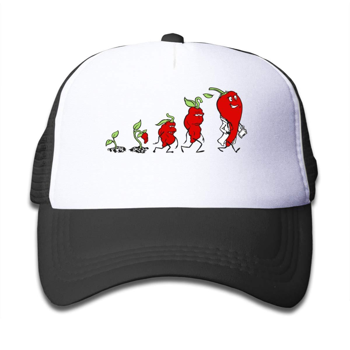 Cute Chili Pepper Evolution Sun Mesh Back Cap Trucker Baseball Hats Girls Black