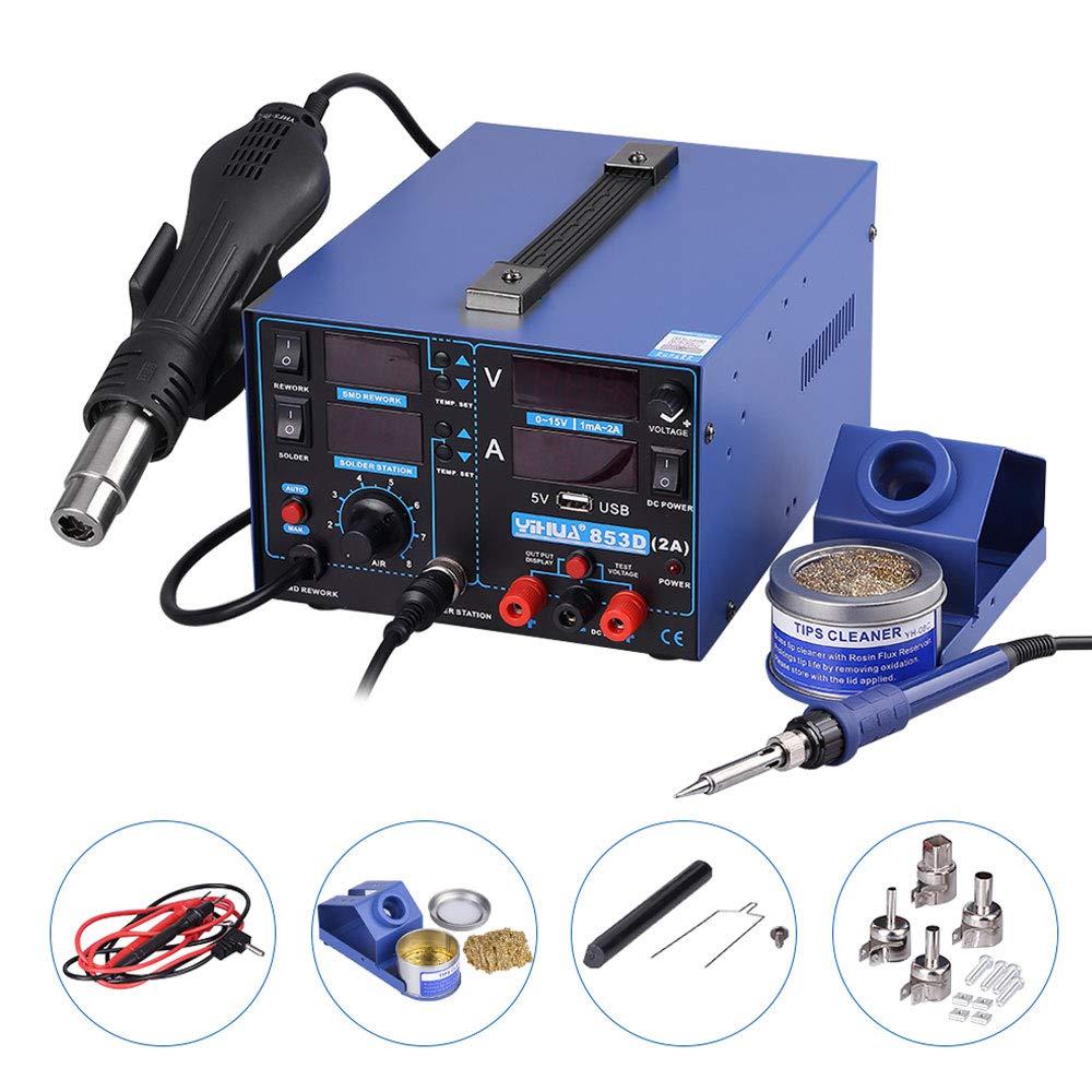 estació n de soldadura aire caliente Soplete 3 en 1 SMD equipo para soldar con accesorios Profesional 853d USB, 2 A 2A Yihua