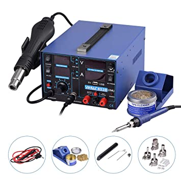 estación de soldadura aire caliente Soplete 3 en 1 SMD equipo para soldar con accesorios Profesional 853d USB, 2 A: Amazon.es: Bricolaje y herramientas