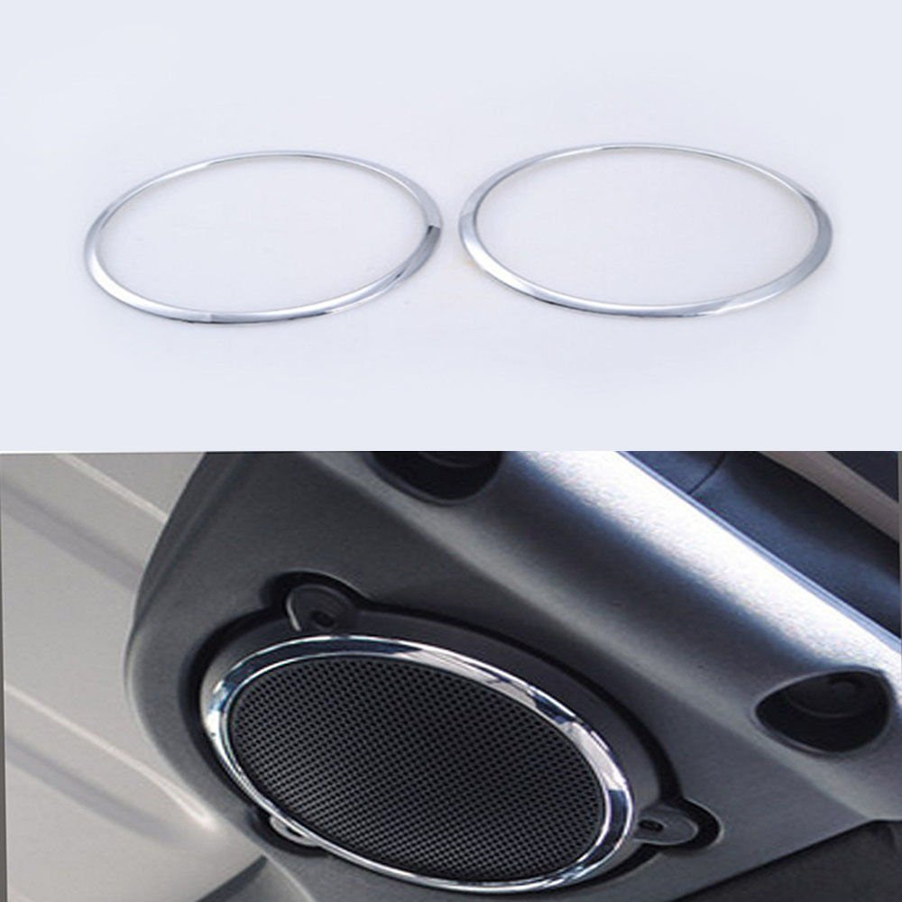 UltaPlay For Jeep Wrangler JK Rubicon TOP Roof Speaker Sound Cover Trim Interior Chrome ABS Sticker Decor Ring Car Styling 2008-2015 2016 [Silver]