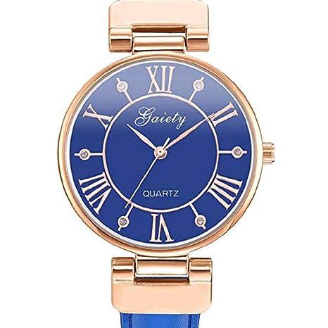 Mujeres Relojes de Cuarzo Liquidación Número Romano Cristal Analógico Relojes para Mujer Relojes para Mujeres Relojes de Cuero Fino (Azul): Amazon.es: ...