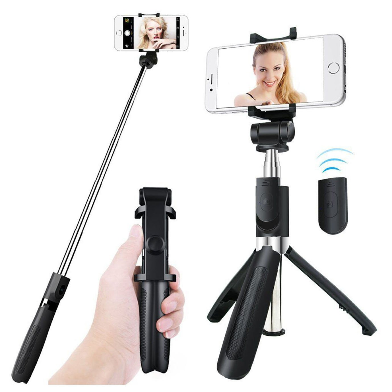 Amzaglifpen bluetooth Selfie Stick Tripod, Aluminum Extendable Monopod with Wireless Remote Shutter Adjustable Phone Holder for iPhone X 8 7 6s 6 Plus Samsung Galaxy S8 Note 8 Android,for Live Broadc