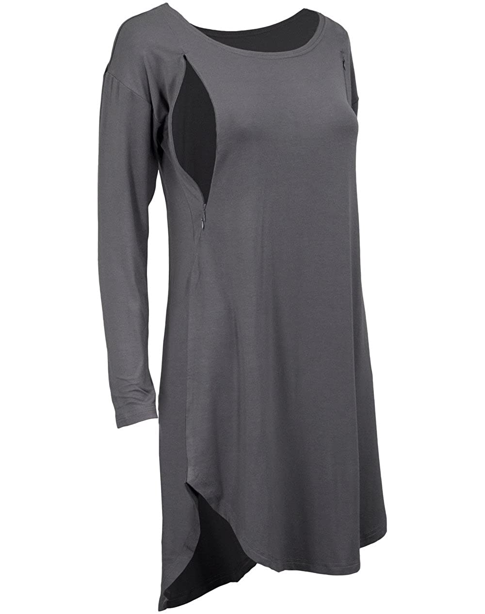af5d610b181bb La Mere Women's Long Nursing Tunic (X-Large, Gray) at Amazon Women's  Clothing store: