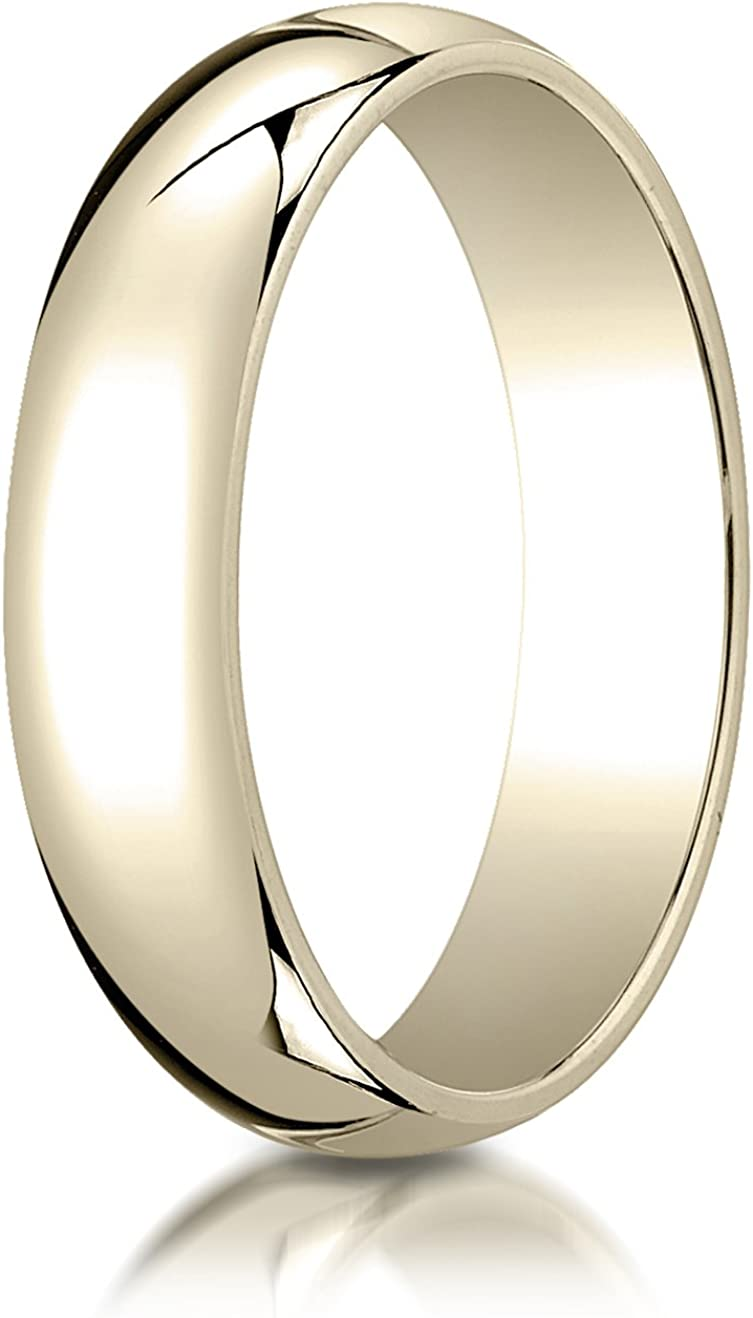 Benchmark 10K Yellow Gold 5mm Slightly Domed Standard Comfort-Fit Wedding Band Ring with Double Milgrain