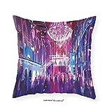 VROSELV Custom Cotton Linen Pillowcase Fantasy Art House Decor Opera Opening Elite People Night Club Bright Lights Big Crowd Artwork for Bedroom Living Room Dorm Blue 24''x24''