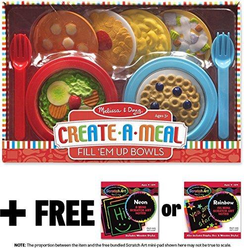 Melissa & Doug Fill 'Em Up Bowls: Create-A-Meal Play Set & 1 Scratch Art Mini-Pad Bundle (09541)
