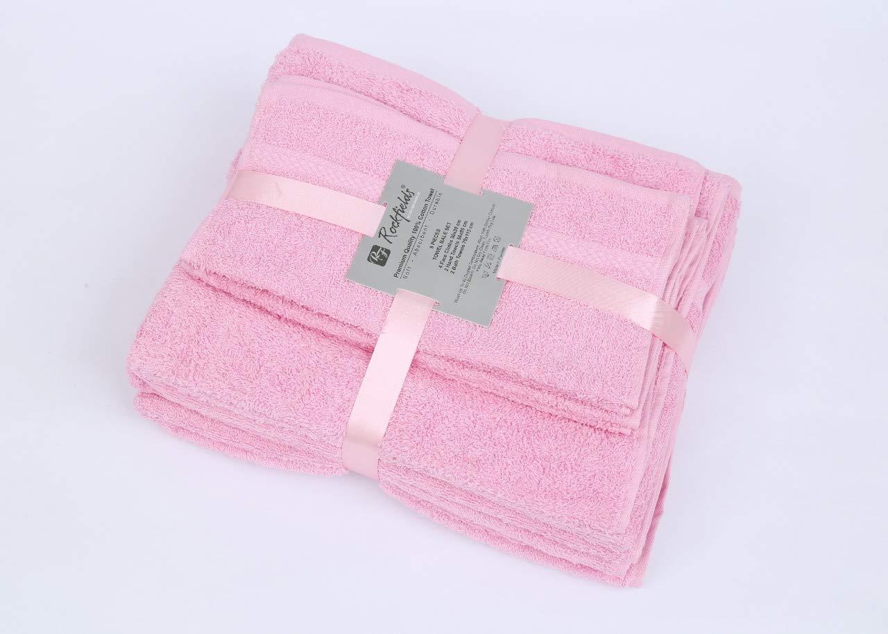 4 Piezas, 100/% algod/ón, Muy Absorbente Rockfields Toalla de ba/ño Color Rosa