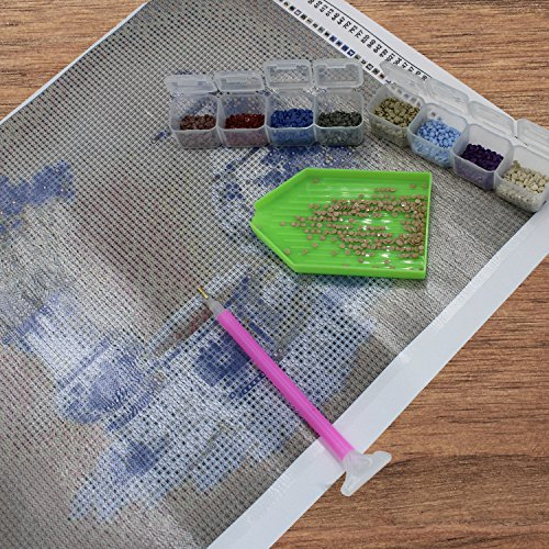 5D Diamond Painting Storage Case for DIY with 196 Pieces Craft Label Marker Sticker 2 Pack 28 Slots Diamond Embroidery Boxs